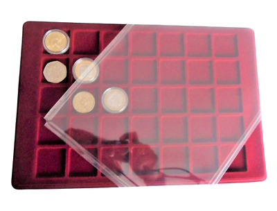 Red Coin Tray For 35 Coins  With Cover  ( £2 )   Tray Only