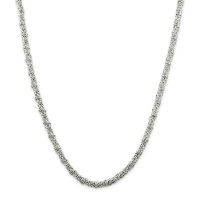 """Sterling Silver Solid 4mm Fancy Byzantine Chain w/ Lobster Clasp 18"""" - 24"""""""