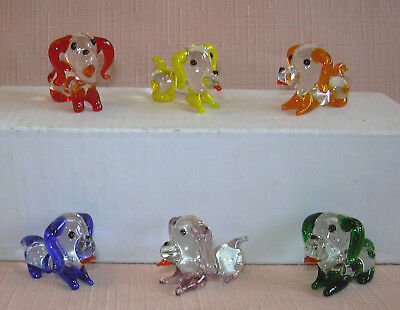 6 CUTE MINIATURE CRYSTAL/GLASS DOGS Each one is a different colour