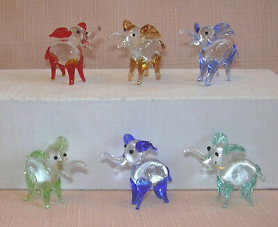 6 CUTE MINIATURE CRYSTAL/GLASS ELEPHANT Each one is a different colour