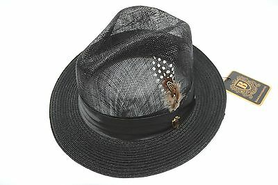 Mens Bruno Capelo Black Sinamay and Poly Braid Fedora SP-100 S M L XL