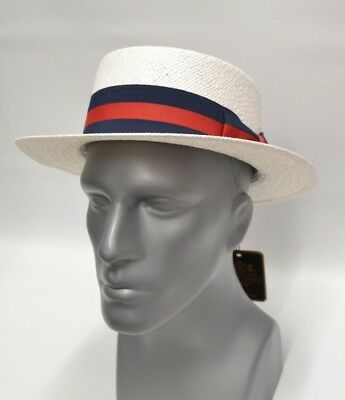 Men's White Boater Hat 100% Straw Skimmer By Bruno Capelo BC-631