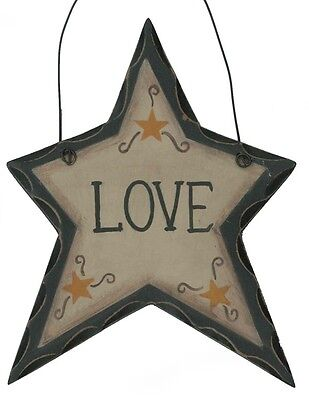 LOVE star Country Primitive Carved Look wood inspirational decor STARs Sign