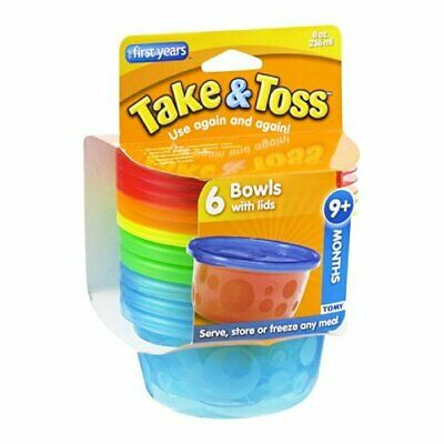 The First Years Take & Toss Bowls with Lids 9+ Months 6CT (Pack of 8)