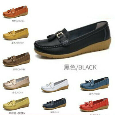 Womens Metal Decor Driving Comfort Shoes Moccasins Cushioned Loafers Ladies Size