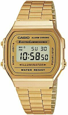 Casio Vintage Retro Digital Watch Stainless Steel Gold A168W A168 A168WG-9