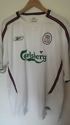 Liverpool FC White Red Away Shirt L - XL Reebok Vintage Football Jersey 04/05