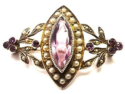 Antique Edwardian Silver Pearl & Amethyst Brooch. F77F