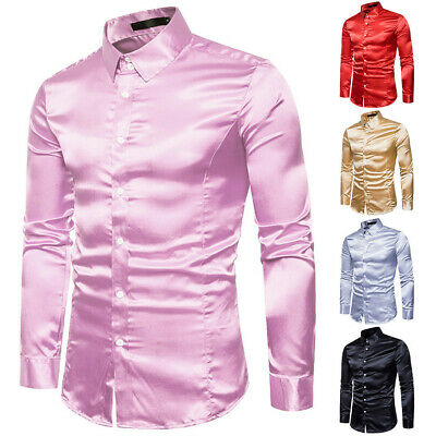 Men Satin Long sleeve Shirts Casual Slim Fit Top Blouse Personality Fashion 2019