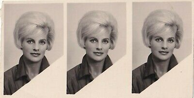 Vintage Photo Booth - 3 Photos - Pretty Young Woman With Blonde Bouffant Hair