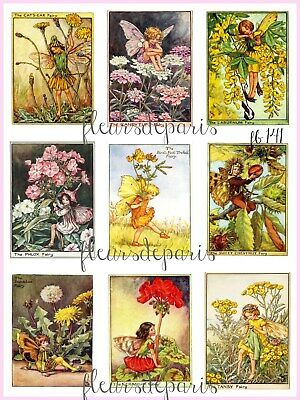 ~ Vintage Flower Fairies Mix Purple Yellow 9 Small Prints on Fabric FB 141 ~