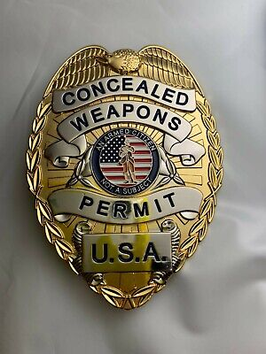 Quality GOLD /silver toned BADGE METAL CONCEALED WEAPONS CARRY PERMIT CCW