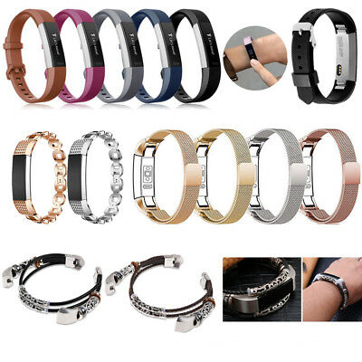 Leather Metal Replacement Wrist Band Strap For Fitbit Alta & HR & ACE Tracker CA