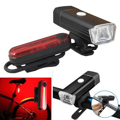 Bike Bicycle Front LED Headlight Lamp Front Rear Tail Light Set USB Rechargeable