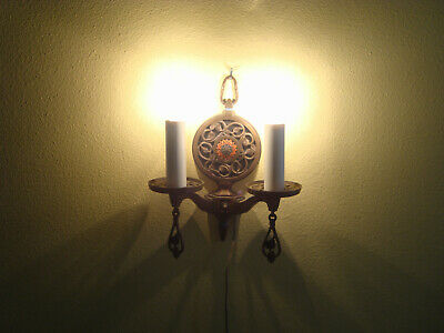 """Antique Vintage Brass Heavy Wall Sconse Cord or Install in Box 16"""" Tall, 9 1/2"""""""