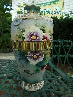 LARGE ANTIQUE MORIAGE SATSUMA NIPPON MANTLE VASE MADE IN JAPAN c1920