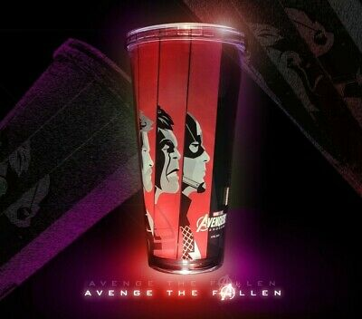 Limited AVENGERS ENDGAME Movie Authentic Double Wall CUP Straw theater COCA COLA