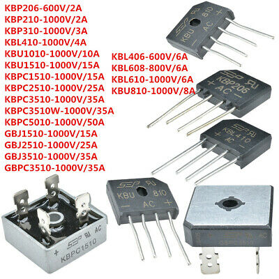 5/10PCS 600-1000V Metal Case Single Phases 2-50A KBPC5010 Diode Bridge Rectifier