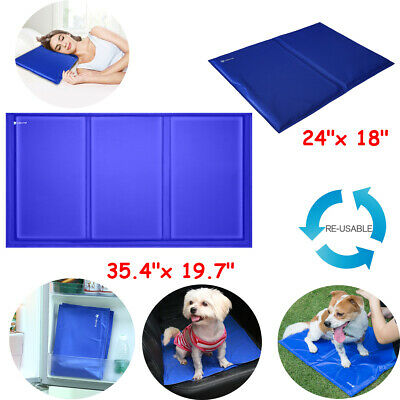 L / XL Dog Cooling Mat Pet Cat Chilly Cool Gel Bed Puppy Heat Relief Pad Cooler