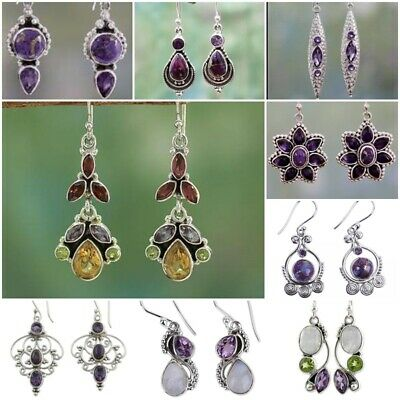 Purple Gemstone 925 Silver Earrings Proposal Wedding Dangle Drop Women Jewelry