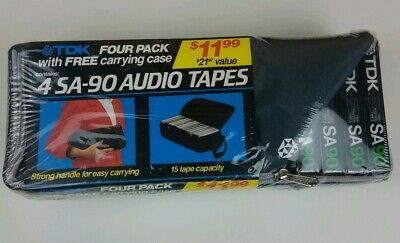 Tdk SA90 4x Cassette Tapes With Free Carrying Case NIB Sealed Vintage Collector