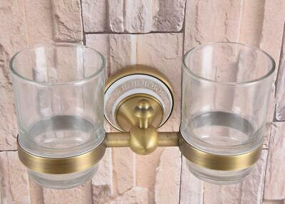 Antique Brass Double Tumbler Cup Holder Toothbrush Holder Bathroom Accessory