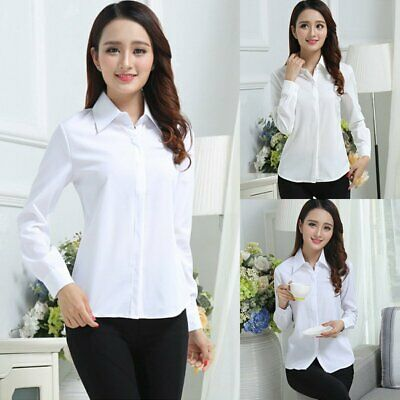 Women Slim Shirt Button Tops Office Ladies Long Sleeve Turn Collar Formal Blouse