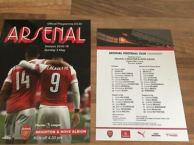 Arsenal v Brighton & Hove Albion Official Matchday Programme & Teamsheet 5/5/19
