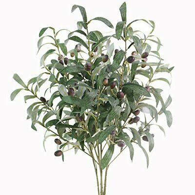 """Htmeing 28"""" Artificial Olive Branches Fake Holly Plants Green Leaves Fruits for"""