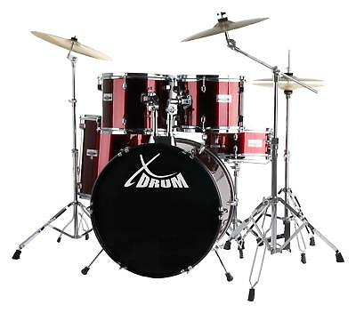 """22"""" Drum Kit Drumset Drums Snare Stand Pedals Cymbals Stands Stool Sticks Red"""