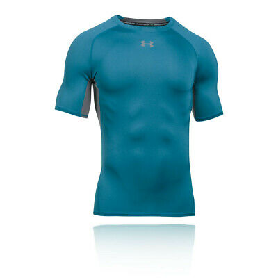 5a44147316fd32 Under Armour Mens Heatgear Short Sleeve Compression T Shirt Tee Top Blue  Sports