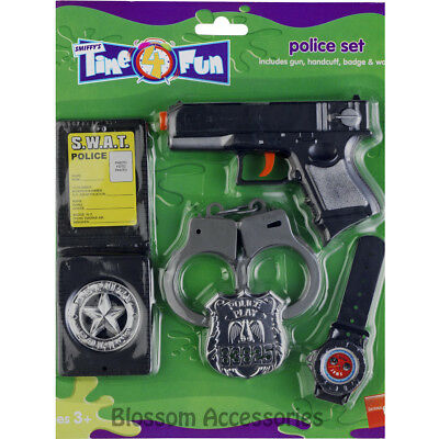 A882 Police Plastic Play Set Handcuffs Toy Gun Badge Kids Costume Accessory