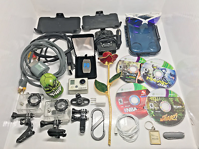 GoPro Hero Junk Drawer Lot Xbox Apple iPhone GOLD Money Clip Earbuds Keychains