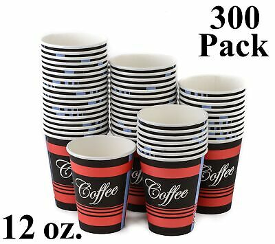 300 Pack 12 Oz. Eco Friendly Disposable Poly Paper Hot Tea Coffee Cups No Lids