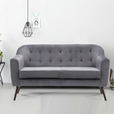 Grey Velvet Loveseat 2 Person Seater Armchair Love Seat Chair Sofa Fabric Settee