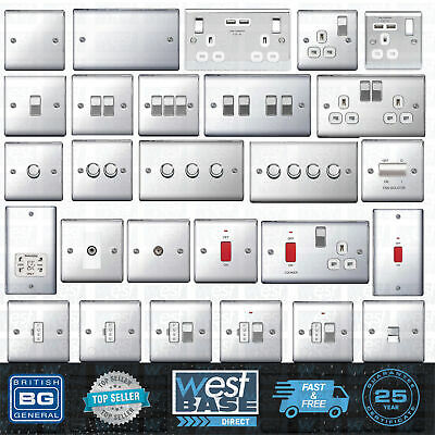 BG NEXUS METAL POLISHED CHROME Switches & Sockets Decorative Light Mains USB 13A