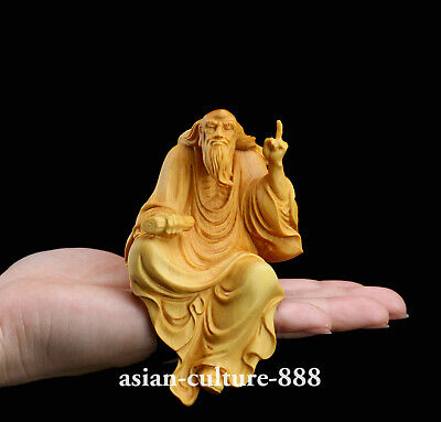 chinese Wood boxwood carving figure Lao-tzu Laozi preached founder of Taoism St