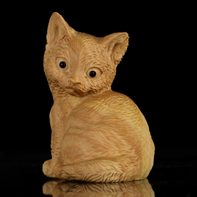 chinese Wood boxwood carving figure: Fengshui Animal cat Statue Sculpture