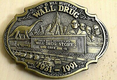 Vintage Hustead's Wall Drug Store BrassBelt Buckle , Mt. Rushmore, 50th LIMITED