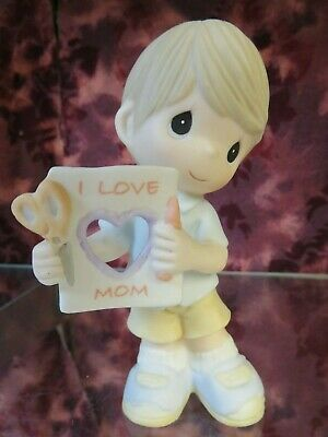 "Precious Moments #104006 ""I LOVE YOU MOM "" BOY Holding Cut Out Heart- NEW IN BOX"