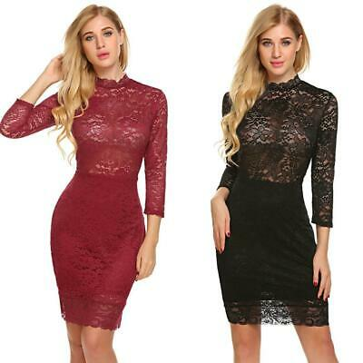 Women Mock Neck 3/4 Sleeve Sheer Floral Lace Bodycon Party Dress OK