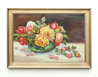 Red Yellow Roses Still Life Oil Painting Signed Framed Original Vintage Flowers