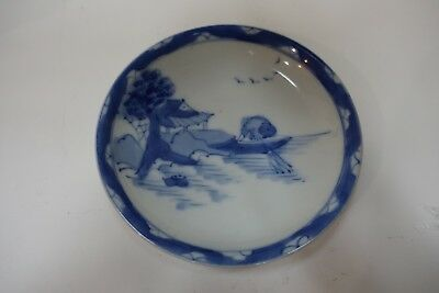 ggg400 ANTIQUE JAPANESE MEIJI PORCELAIN HAND PAINTED BLUE AND WHITE DISH BOWL