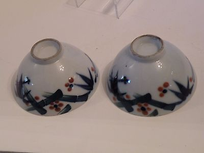 dao118 PR. OLD JAPANESE BLUE & WHITE PORCELAIN RICE BOWLS