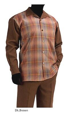 Men's Bruno Conte Walking Suit Brown Checkered Print Casual Set