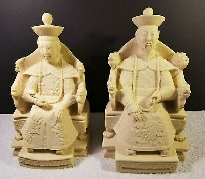 """VTG 50's Pair Chinese Emperors Cast Resin Figures /Ivory Color 11"""" x 7"""" x 6"""""""