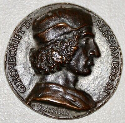 Rare 15th c. Bronze Relief Medallion of Allesandro DI Gino Vecchietti C.1498