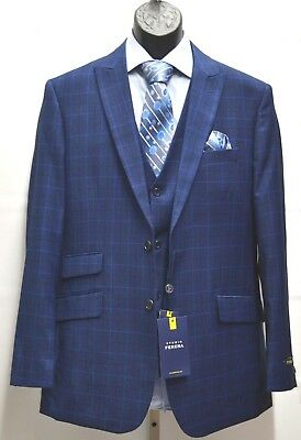 Mens Studio Ferera Textured Suit French Blue Windowpane Classic Fit