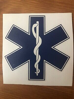 STAR OF LIFE decal sticker medical ambulance first aid event car sign blue