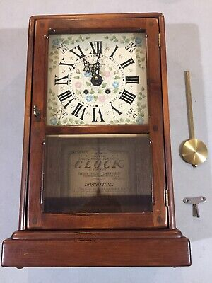 Vintage New England Clock Co NE214C wood mantle clock with chimes, Needs Work.